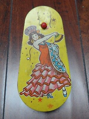 Noisemaker vintage loud party fiesta ratchet US Metal Toy dancing senorita lady  - Vintage Halloween Dance Party