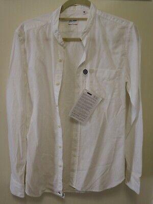 Glanshirt Textured Broken Stripe Button Down Band Collar Shirt Size 38 / 15 Button-down-band