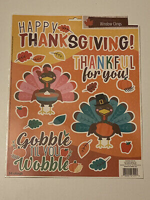 Thanksgiving Reusable Window Clings - TURKEY COLORFUL Word Sayings