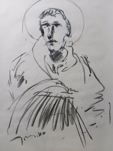 JOSE TRUJILLO LARGE Impressionist ORIGINAL CHARCOAL DRAWING FIGURATIVE BUST ART