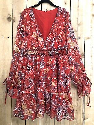 Free People Boho Hippie Closer to Heart Tiered Ruffled Dress ExtraLarge NWT $128
