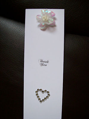 LOT OF 20 WHITE THANK YOU FAVOR BOOKMARKS -SHOWER,BIRTHDAY, ANNIVERSARY PARTY