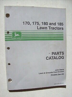 Original John Deere 170 175 180 185 Lawn Tractors Parts Catalog Manual
