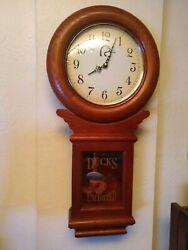 Vintage Pendulum Clock Ducks Unlimited Real Wood DU Mallard Wooden Wall Clock