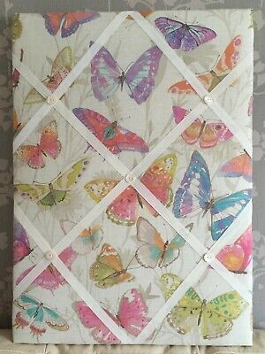 Butterfies  fabric covered,box framed,large  Memo/message/pin/notice Board for sale  Shipping to Ireland