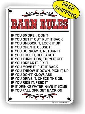 Barn Rules Sign, Horse Barn Sign, Farm Sign - FREE SHIPPING