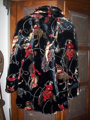 REGAL PLUSH Thick Mink Fleece Coat Rodeo Horses Cowboys Lined Women's L