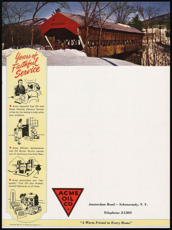 Vintage letterhead ACME OIL CO covered bridge pictured 1954 Schenectady New York