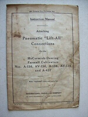 Original Mccormick Lift All Farmall A Av Cultivators  Instruction Manual