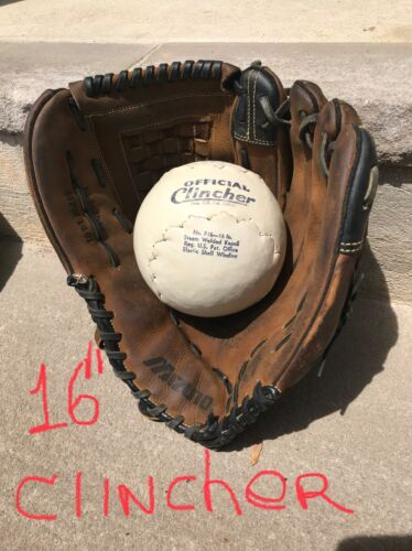 "VERY GOOD+ BIG MIZUNO SOFTBALL / BASEBALL GLOVE, 14"" R-throw"