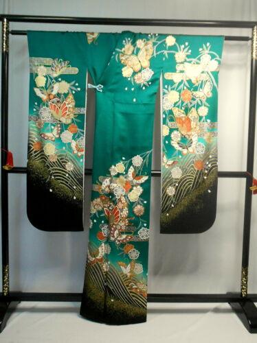 "Japanese kimono SILK""FURISODE"" long sleeves, Gold, SAKURA, Butterfly,L63.7"".1710"