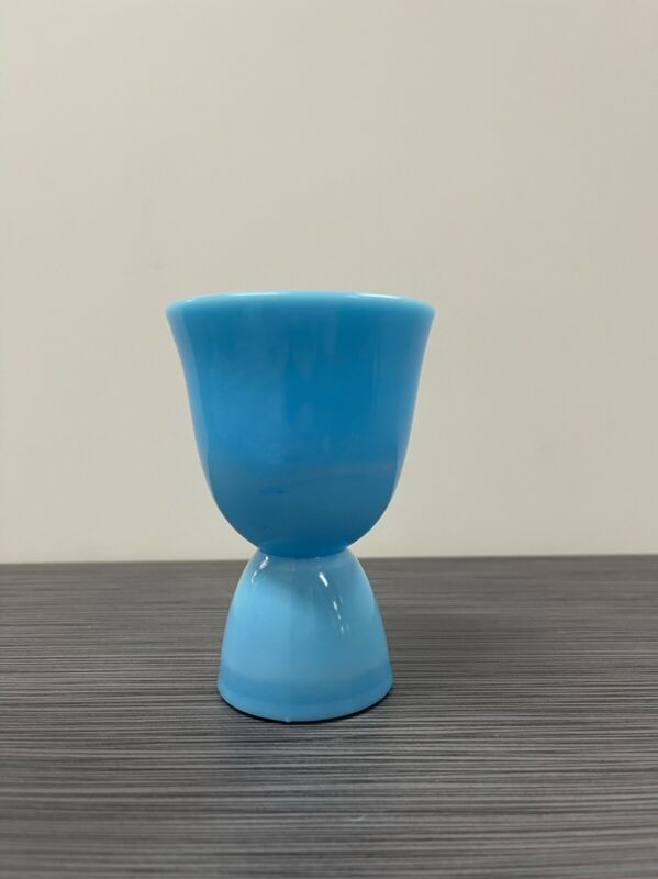 Chalaine / Chaline Blue Glass Double Egg Cup (McKee, Jeannette, Fire King)