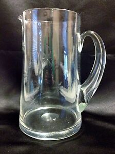 VTG 50's CG Quartex Crystal Pitcher Star Dust Japan Barware MCM Etched
