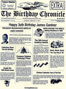 PERSONALISED NEWSPAPER PARCHMENT,18TH 21ST 30TH 40TH 50TH 60TH BIRTHDAY GIFT