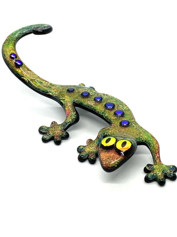 Laurel Yourkowski Fused Dichroic Glass gacko figurine