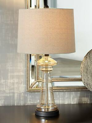 Modern Table Lamp Clear Champagne Gold Glass for Living Room