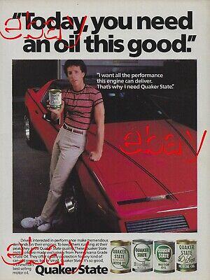 1983 Pontiac Firebird Trans Am Quaker State Motor Oil Vintage Magazine Ad 83 Red