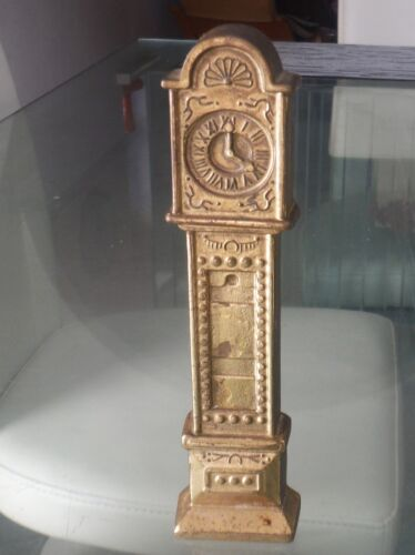 "VINTAGE DOLL'S HOUSE 6"" GRANDFATHER CLOCK - GILT FINISH BRASS"