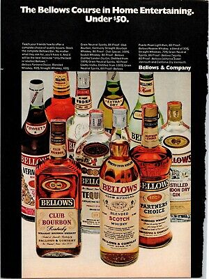 Vintage Print Ad 1969 Bellows Course In Home Entertaining Alcohol Whisky Whiskey