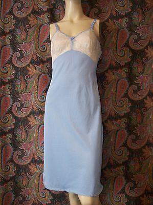 Vintage Blue Lacy Silky Nylon Mini Slip Nighty Lingerie 34