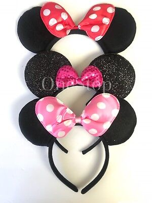 3 Minnie Mouse Red Pink Bow-Mickey Mouse Ears Headband Disney adult/kid costume](Minnie Mouse Costume Adults)