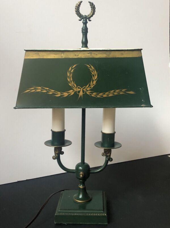 RARE! Vintage TOLE GOLD GREEN Florentine Metal LAMP *Bouillotte WREATH Toleware