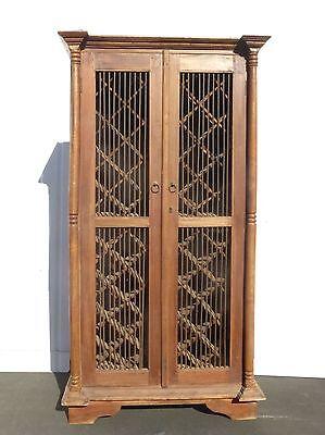 Vintage Teakwood Rustic Spanish Style WINE Cabinet Storage 48 Bottle Holder
