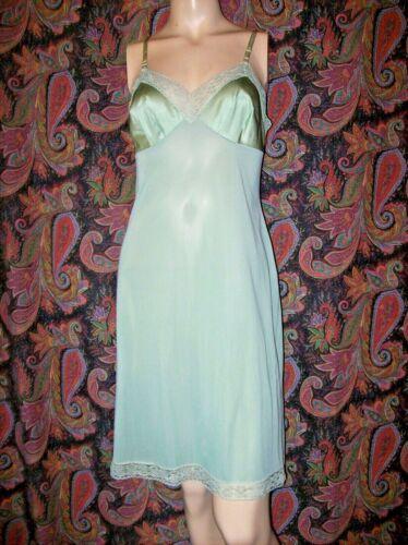 Vintage Vanity Fair Green Silky Nylon Empire Slip Nighty Lingerie 34