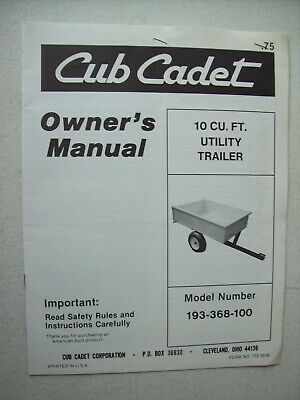 Original Cub Cadet 10 Cu. Ft. Utility Trailer Model 193-368-100 Owners Manual