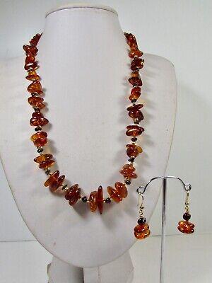 Lee Sands Amber & Garnet Nugget Necklace & Earring Set Made in Hawaii Garnet Necklace And Earring Set