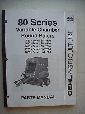 Original Gehl 80 Series Variable Chamber Round Balers Parts Manual 909796