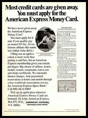1970 Arthur Ashe Tennis Champion American Express Money Credit Card Print Ad