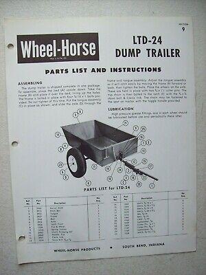 Original Wheel Horse Ltd-24 Dump Trailer Instructions Parts List