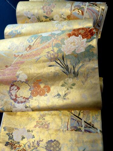 "Japanese Kimono SILK Fukuro OBI, Rokutu ,Gold, Plants, Traditional, L170""..1242"