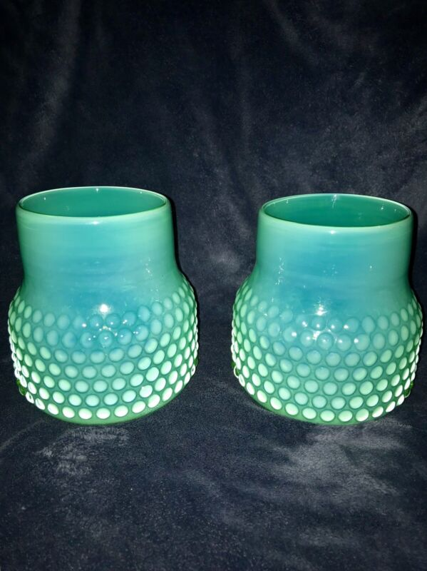 """Nice Pair Hobnail Green Opalescent Vases 6"""""""