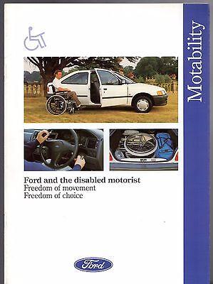 Ford Motability For Disabled Drivers 1991-92 UK Market Brochure Fiesta Escort