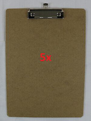 Gebraucht, 5 Set Klemmbrett A4 Holz mit Klemme aus Metall | Schreibunterlage | Clipboard gebraucht kaufen  Celle