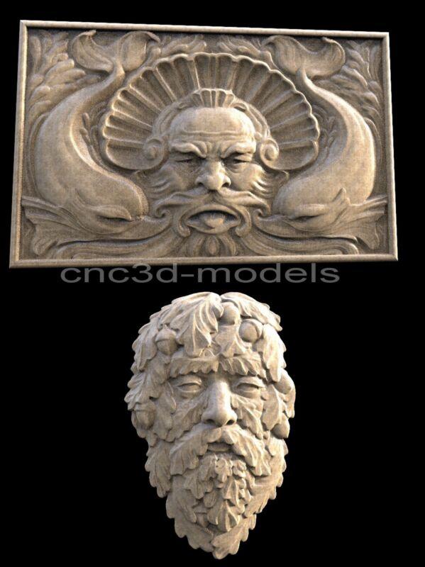 3D STL Models for CNC Router Engraver Carving Artcam Aspire Forest Man Face 242