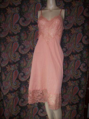 Vintage Vanity Fair Orange Super Lacy Silky Nylon Slip Nighty Lingerie 36
