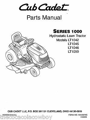 Cub Cadet LT1042 LT1045 LT1046 LT1050 Parts Manual