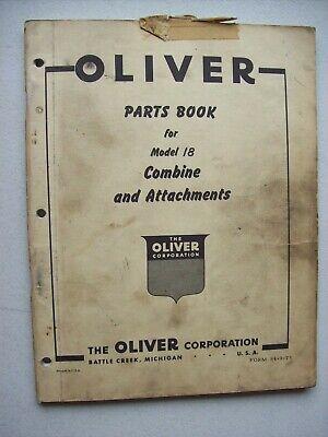 Original Oliver Model 18 Combine Attachments Parts Book Manual