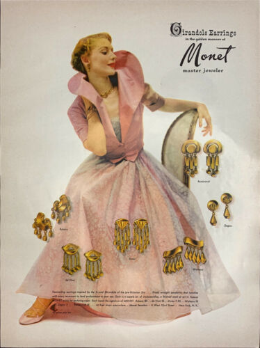 Vintage 1949 Vogue Monet Woman In Pink Gown And Jewelry Print Ad Advertisement