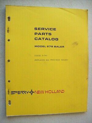 Original New Holland Model 278 Baler Service Parts Catalog Manual 1974