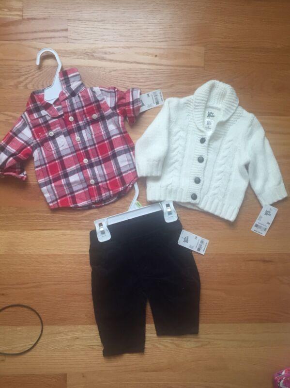 Osh Kosh Baby Boy 3m Lot Of 3 , Cardigan Sweater, Pants $ Shirt