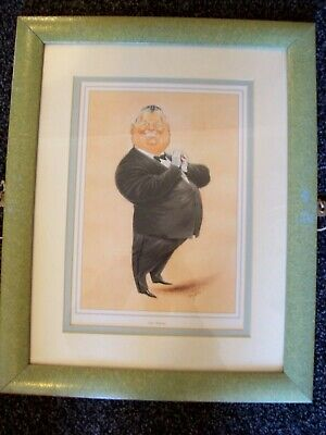LARGE FRAMED CARICATURE PRINT LEN GANLEY MBE SNOOKER REFEREE Signed John Ireland