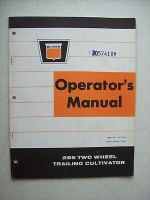 Original Oliver 285 Two Wheel Trailing Cultivator Operators Manual 1969