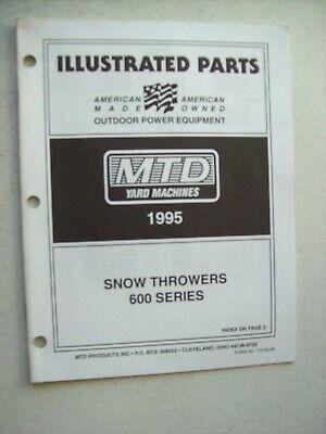 Original Mtd Yard Machines 600 Series Snow Throwers Illustrated Parts Manual