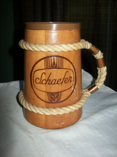 Vintage Rare Schaefer Wood Beer Stein Cup Mug With Rope Copper Handle