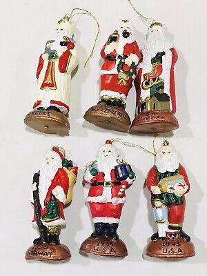 "Vintage Plastic Blow Mold 4"" World Santa 6 Ornament Lot Sweden Norway Greece USA"