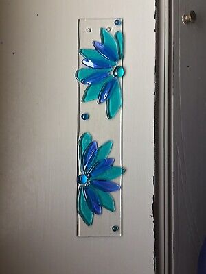 Stained Glass Blue And Turquois Flower Petal Handmade Suncatcher ()